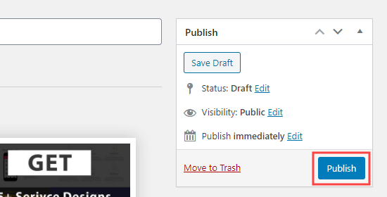Click the publish button to publish your service boxes