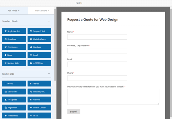 Modifying the Request a Quote form