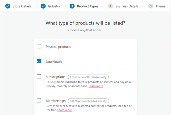 Select 'Downloads' for your WooCommerce product type