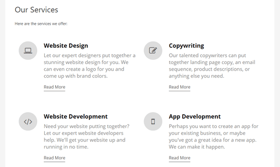 A completed services page with a service section