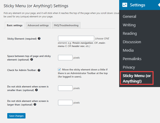 The Sticky Menu plugin's settings page