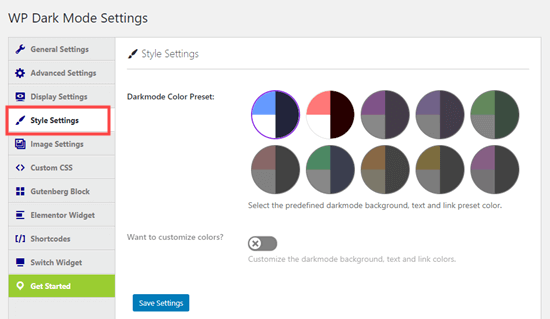 Choosing your dark mode color scheme in the Style Settings