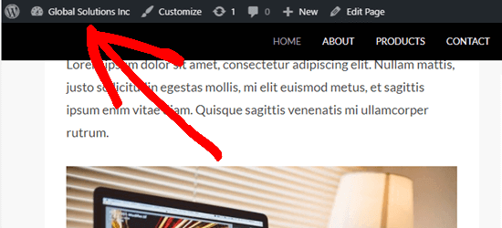 The WordPress admin bar appears above the sticky menu