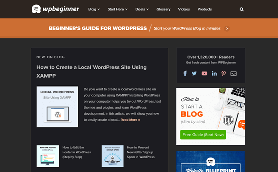 The WordPress website viewed using the Chrome 'Night Eye' extension