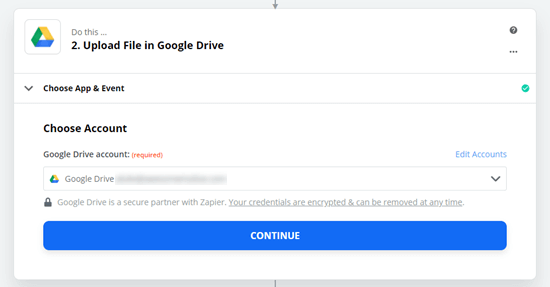 Zapier and Google Drive are now connected