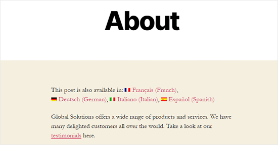 The About page on our demo site, with translation language options shown