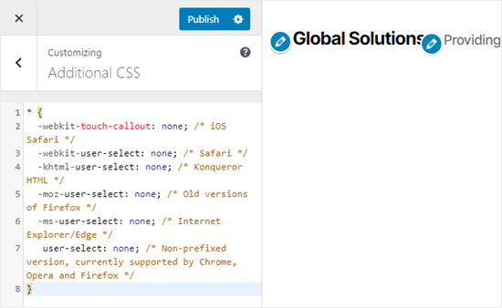 Adding the CSS code to prevent text selection and copy/paste