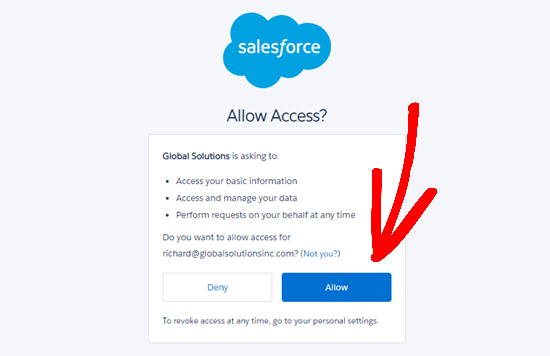 Allow WPForms to access your Salesforce account through your app