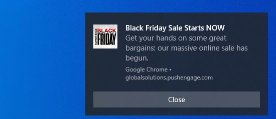 Black Friday sale notification, sent using PushEngage