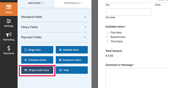 add credit card field to your form