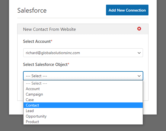 Choose the Salesforce Object from the dropdown list