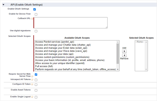 Completing the OAuth settings section