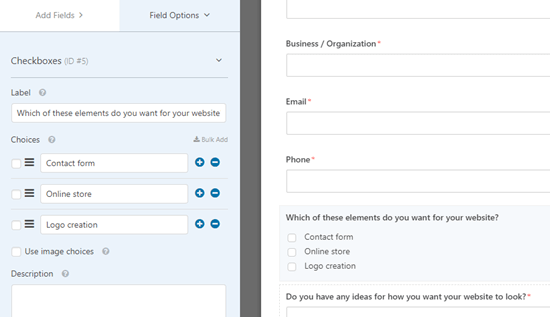 Editing the newly added checkboxes field