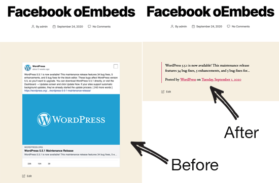 Facebook oEmbed Before and After