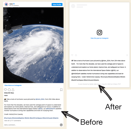Instagram oEmbed Before and After API Change
