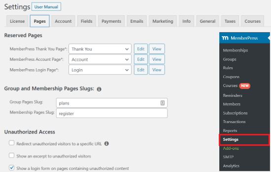 memberpress settings page