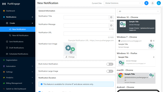 Creating a new notification in the PushEngage dashboard