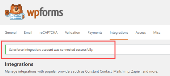 The success message letting you know that Salesforce and WPForms have been successfully integrated