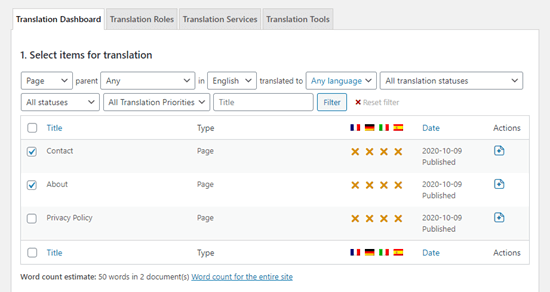 Viewing the list of pages in the translation dashboard