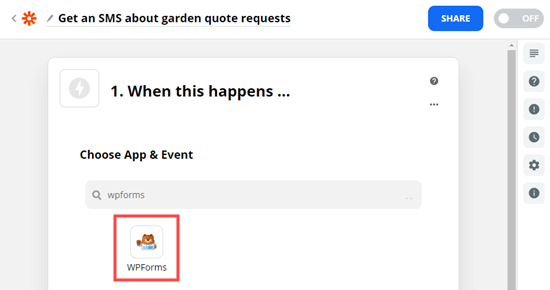 Choose WPForms as the trigger for your zap
