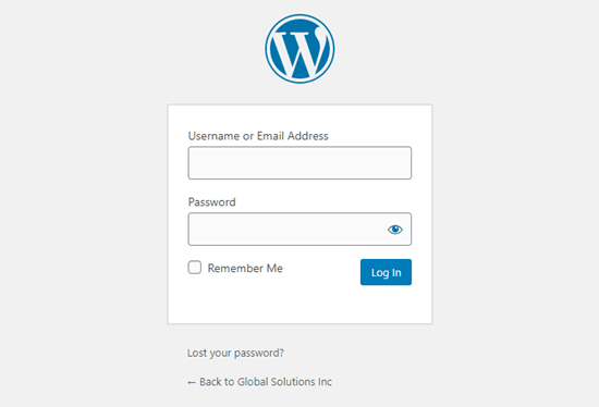 The WordPress default login page