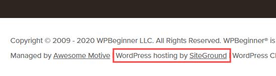 WPBeginner hosting details shown in the footer