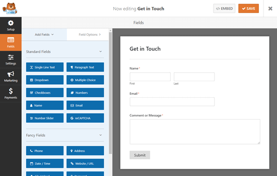 The default contact form template in the WPForms form builder