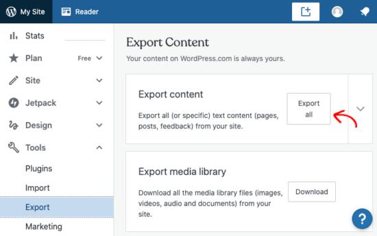 Export in WordPress.com
