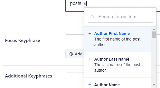 Adding tags to your meta description in All in One SEO