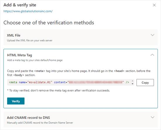 Getting the HTML meta tag from Bing Search Console