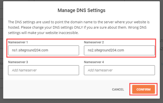 Editing your nameserver records and saving your changes