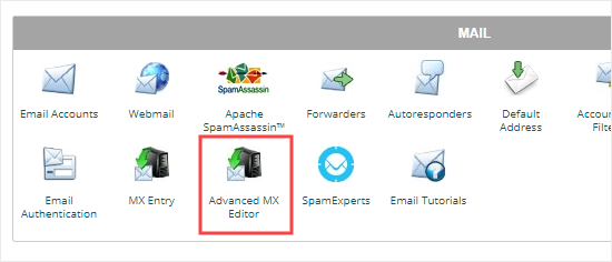Opening the Advanced MX Editor from cPanel