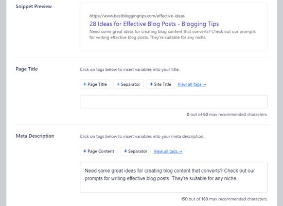 """在""""多合一搜索引擎优化""""中输入您的元描述"""
