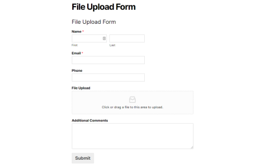 file upload form preview