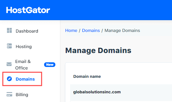 The Domains tab in your HostGator account