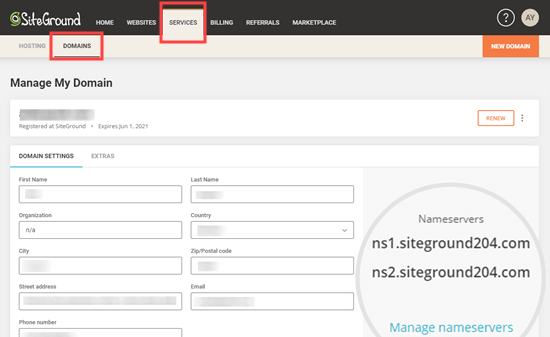 Clicking the Manage Nameservers link for your chosen domain