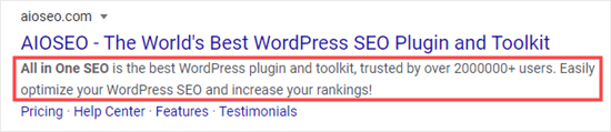 An example meta description, for the All in One SEO plugin homepage