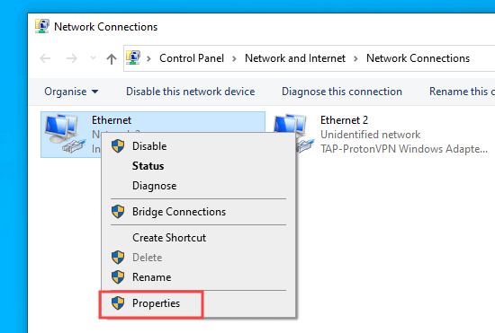 Click on the Properties for your active internet connection