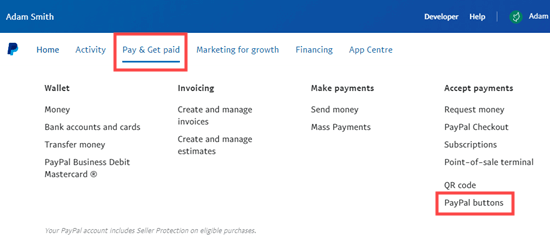 Selecting the PayPal Buttons menu option