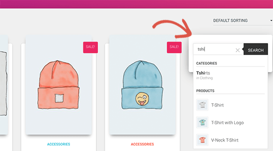 Sidebar product search preview