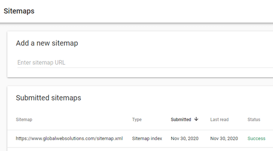 Your sitemap should appear in the table after you submit it to Google Search Console