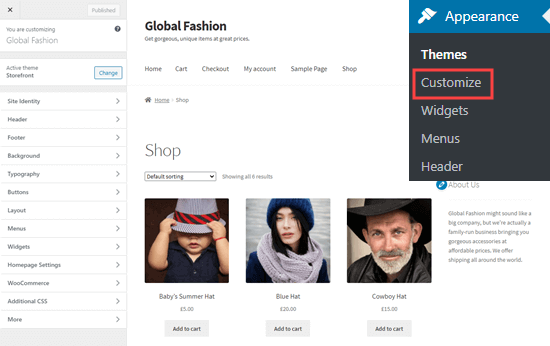 The WordPress theme customizer, showing the main shop page