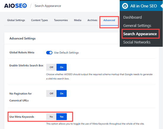 Turning on the meta keywords option in All in One SEO
