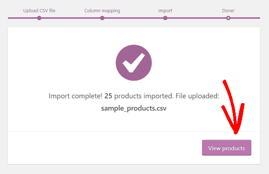 The message showing that the WooCommerce product import is complete