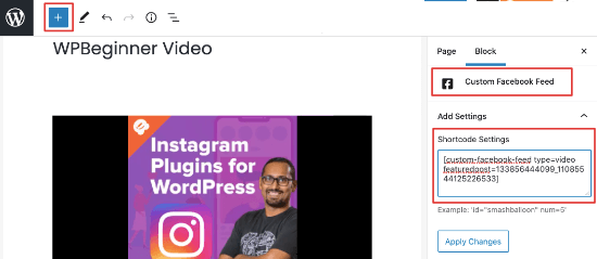 Add single Facebook video using Smash Balloon