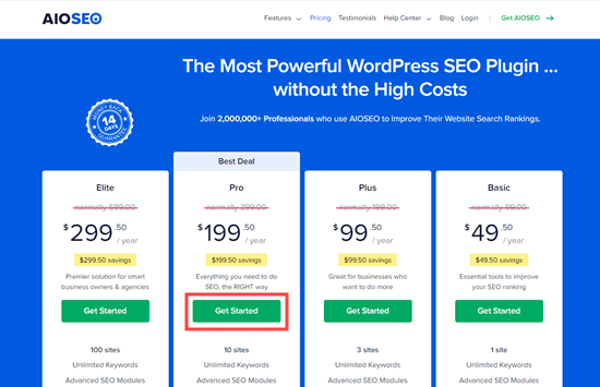 Click the Get Started button for your chosen All in One SEO plan