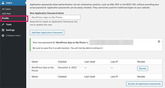 Application passwords in WordPress 5.6