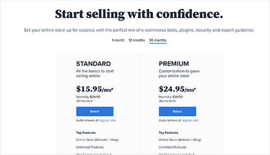 Choose Bluehost WooCommerce plan