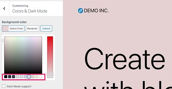 Choose a background color scheme