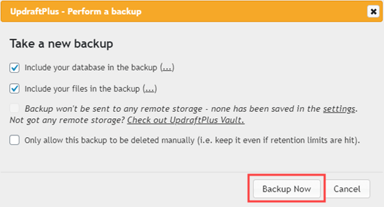 Confirm that you want to run a backup using UpdraftPlus